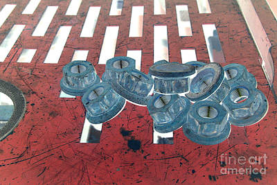 Silver Turquoise Photograph - Lug Nuts On Grate Horizontal by Heather Kirk