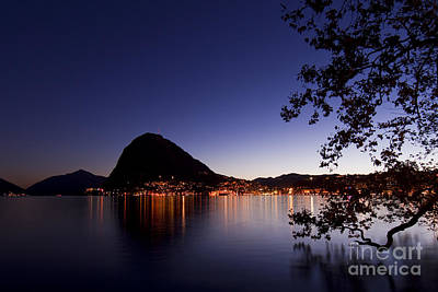 Lugano By Night Art Print