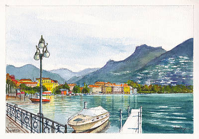 Lugano On Lake Lugano Switzerland Original by Dai Wynn