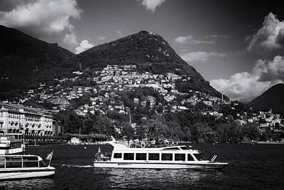 Lugano Switzerland Black And White Art Print by Matthias Hauser