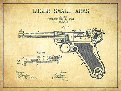 Lugar Small Arms Patent Drawing From 1904 - Vintage Art Print by Aged Pixel