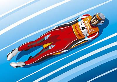 Man Digital Art - Luge Racer Winter Sport by Frank Ramspott
