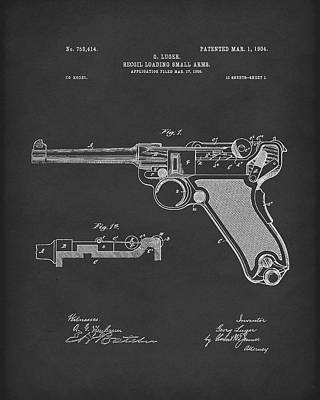 Drawing - Luger Handgun 1904 Patent Art Black by Prior Art Design