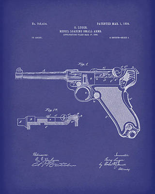 Drawing - Luger Handgun 1904 Patent Art Blue by Prior Art Design