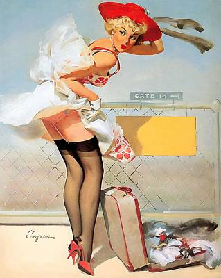 Luggage Accident Pin-up Girl Art Print
