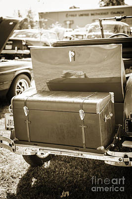Photograph - Luggage Box For 1929 Ford Classic Automobile Car In Sepia  3056. by M K Miller