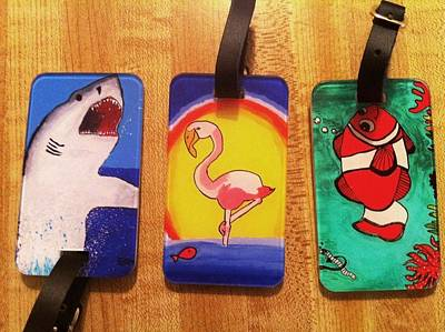 Drawing - Luggage Tags For Sale by Fred Hanna