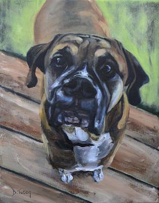 Dog Caricature Painting - Lugnut by Donna Tuten