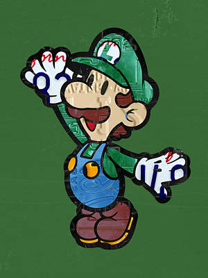 Luigi From Mario Brothers Nintendo Original Vintage Recycled License Plate Art Portrait Art Print by Design Turnpike