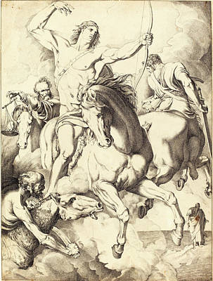 Four Horsemen Drawing - Luigi Sabatelli I, Italian 1772-1850, The Four Horsemen by Litz Collection