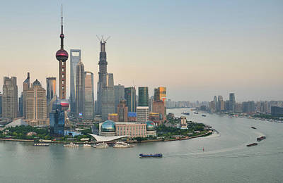 Financial District Photograph - Lujiazui Financial District At Sunset by Wei Fang