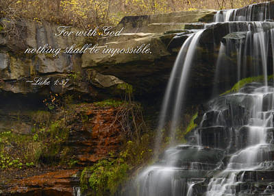 Etherial Photograph - Luke Scripture Waterfall by Ann Bridges