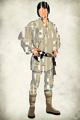 Typographic Digital Art - Luke Skywalker - Mark Hamill  by Inspirowl Design