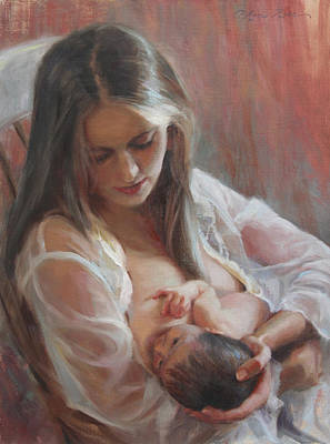 Feeding Young Painting - Lullaby by Anna Rose Bain