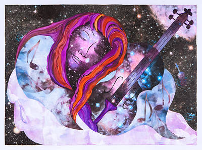 Floating Girl Mixed Media - Lullaby In Space by Lisa Moses