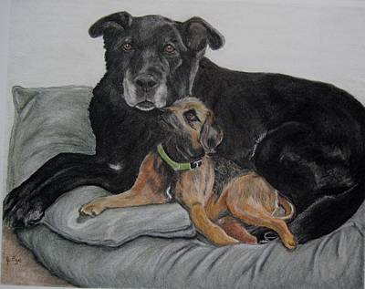 Drawing - Lulu And Taxi by Joan Pye