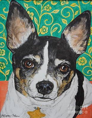 Pet Portraits Painting - Lulu The Rat Terrier by Megan Cohen