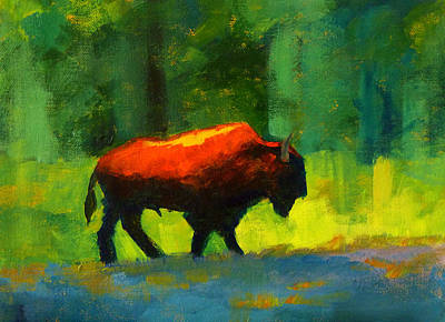Bison Painting - Lumbering by Nancy Merkle