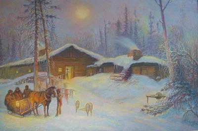 Lumberman Painting - Lumbermans Camp by Pierre Lamare