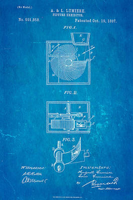 Lumiere Photograph - Lumiere Projector Patent Art 1897 Blueprint by Ian Monk