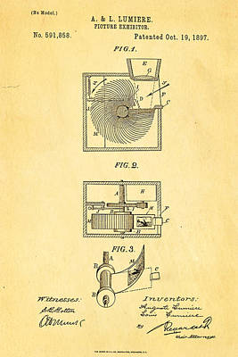 Lumiere Photograph - Lumiere Projector Patent Art 1897 by Ian Monk