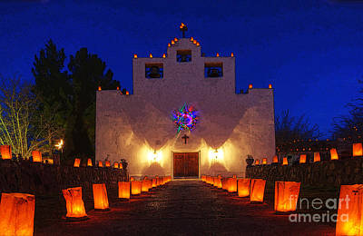 Luminaria Saint Francis De Paula Mission Print by Bob Christopher