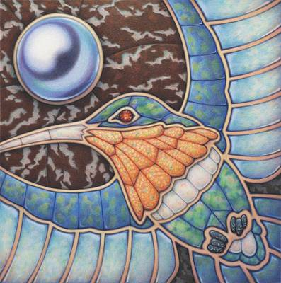 Hummingbird Drawing - Luminosity - Study In Opal And Pearl by Amy S Turner