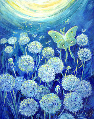 Luna Painting - Luna Moth In Moonlight With Dandelions by Peggy Wilson