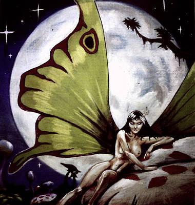 Luna Moth Drawing - Luna by T Ezell