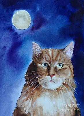 Lunar Cat Art Print by Kym Stine