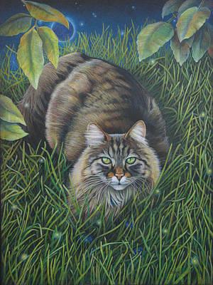 Longhair Cats Painting - Lunar Eclipse by Susan Helen Strok