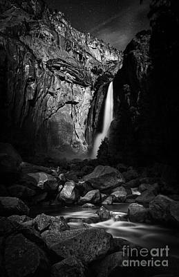 White And Black Waterfalls Photograph - Lunar Glow by Anthony Bonafede