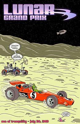 Black Rocket Digital Art - Lunar Grand Prix 1969 by Georgia Fowler