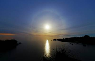 Moonlit Night Photograph - Lunar Halo Over Water by Luis Argerich