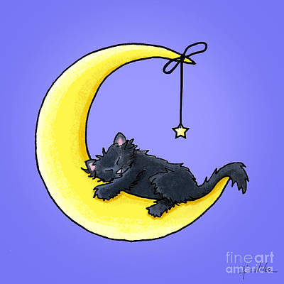 Lunar Love Black Cat Art Print by Kim Niles