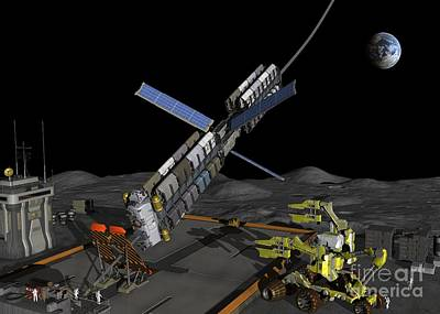 Lunar Space Elevator Moon Base, Artwork Art Print