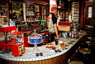 Old Diner Photograph - Lunch At The Diner by Kathy Jennings