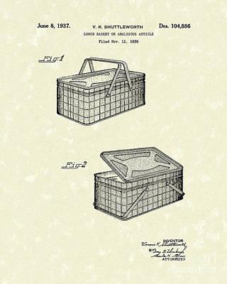 Lunch Basket 1937 Patent Art Art Print by Prior Art Design