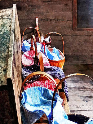 Lunch Baskets In One Room Schoolhouse Print by Susan Savad