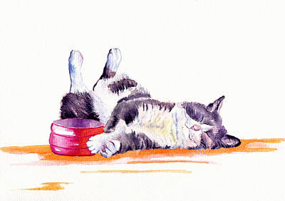 Cat Wall Art - Painting - Lunch Break by Debra Hall