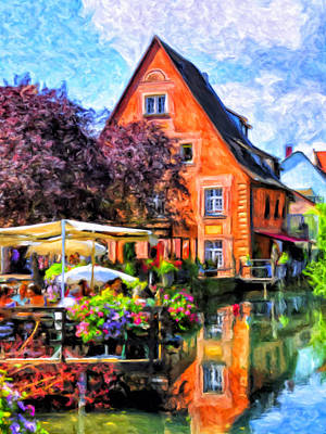 Colmar France Wall Art - Painting - Lunch By The Water by Dominic Piperata