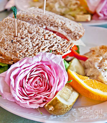 Photograph - Lunch Sandwich With Pink Rose Garnish by Valerie Garner