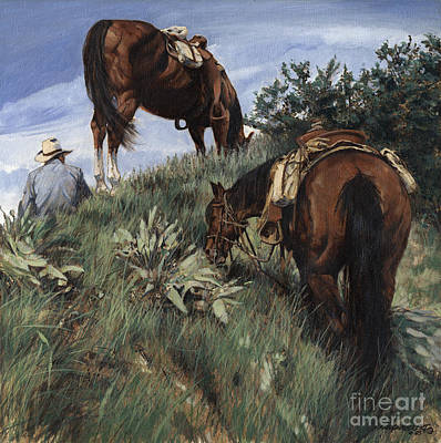 Lunch Top Of The Mountain At Jackson Hole Art Print by Don  Langeneckert