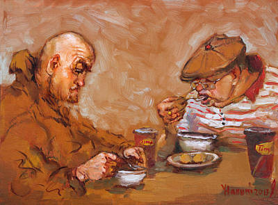 Dish Painting - Lunchtime At Tim  by Ylli Haruni