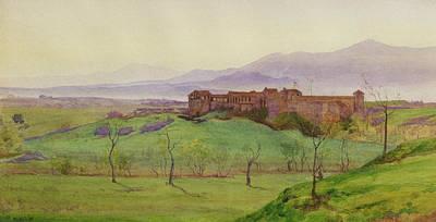 Mountain Drawing - Lunghezza Half Way Between Rome by Matthew Ridley Corbet