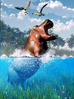 Lunging Hippo  Art Print by Daniel Eskridge