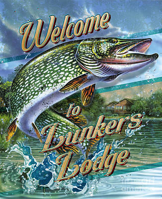 Northern Pike Fish Painting - Lunkers Lodge Pike by Jon Q Wright