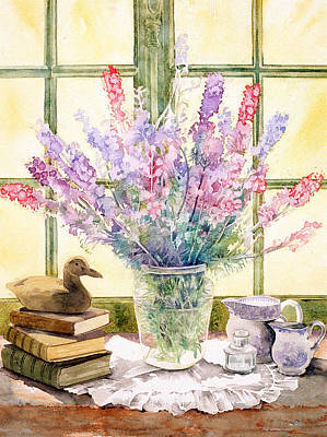 Lupins On Windowsill Art Print by Julia Rowntree