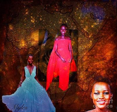 Harvard Digital Art - Lupita Nyongo The Lovely Daughter Of Kenya by Saundra Myles
