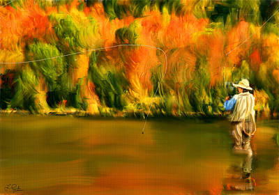 Lure Of Fly Fishing Art Print by Lourry Legarde